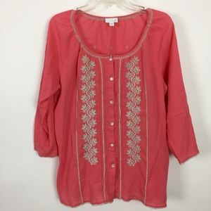 J. Jill Coral Button Down Peasant Top Size Large